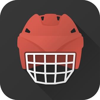 Giocatore offensivo di casco da hockey giocattolo in design piatto con lunga ombra vector illustration icon