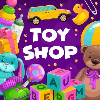 Merci del negozio di giocattoli. regali per bambini, bambini piccoli e neonati, giocattoli educativi e morbidi di peluche.
