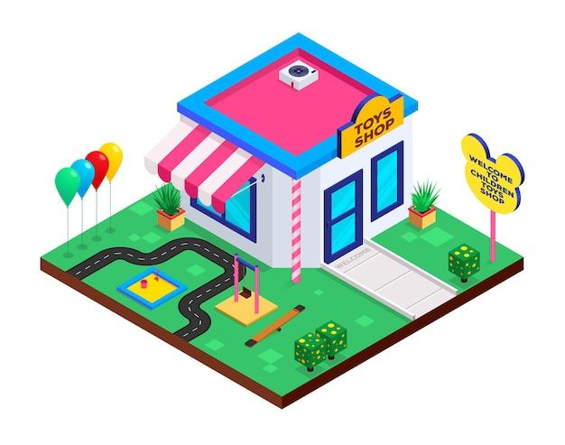 Negozio di giocattoli in stile isometrico con altalene