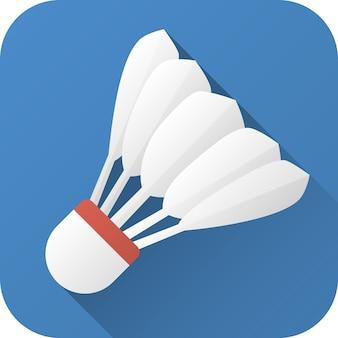 Volano giocattolo per badminton in design piatto con lunga ombra illustrazione vettoriale