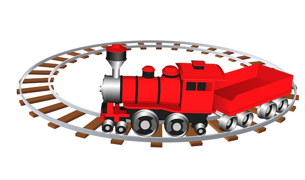 Treno giocattolo. illustrazione vettoriale eps 10 isolato su sfondo bianco. stile cartone animato.