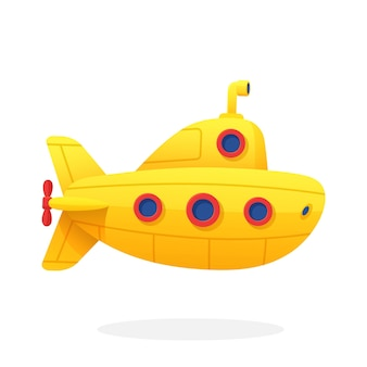 Giocattolo sottomarino giallo batiscafo giallo con periscopio e oblò vector illustration