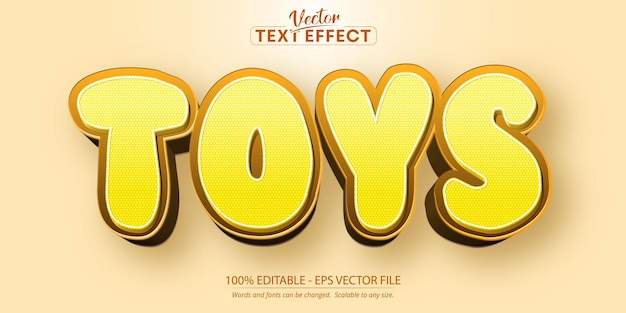 Effetto di testo modificabile dei giocattoli, stile del carattere del fumetto di colore giallo
