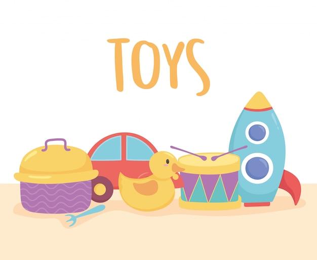 Oggetto di giocattoli per i più piccoli per giocare a cartone animato a tamburo, razzo di anatra e scatola per il pranzo