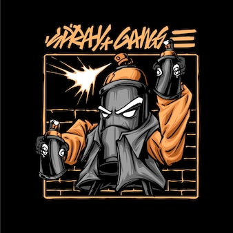 Giocattoli bombardiere vernice spray grey graffiti head prodotto vestiti colorful black art character fashion poster