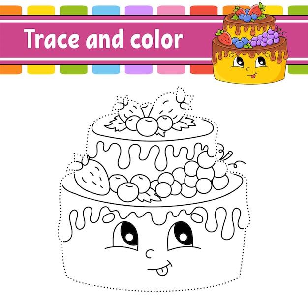 Traccia e colora tema di compleanno pagina da colorare per bambini