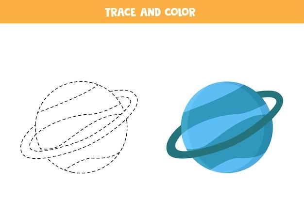 Traccia e colora in blu il pianeta urano. gioco educativo per bambini. scrittura e pratica della colorazione.