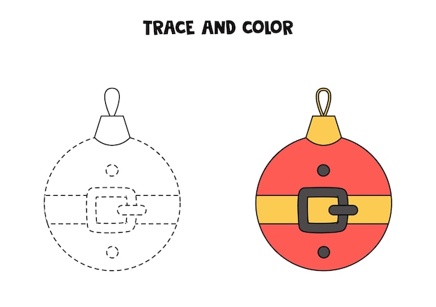 Traccia e colora la palla di natale del fumetto. foglio di lavoro per bambini.