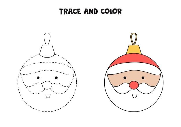 Traccia e colora la pallina di natale del fumetto. foglio di lavoro per bambini.