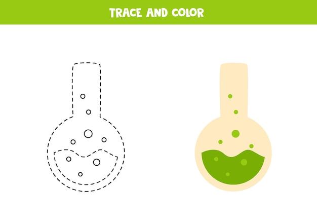 Traccia e colora la pozione dei cartoni animati. foglio di lavoro per bambini.