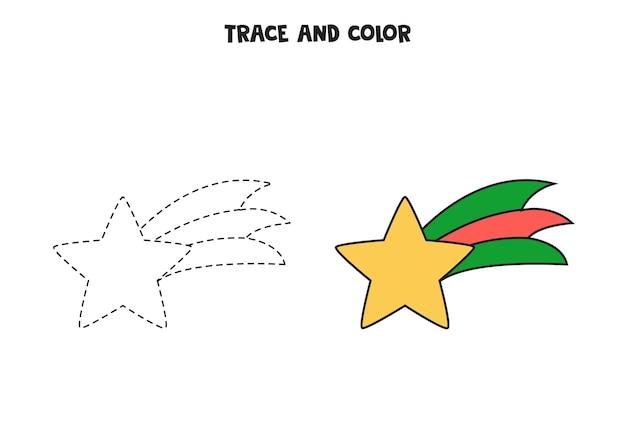 Traccia e colora la stella di natale. foglio di lavoro per bambini.