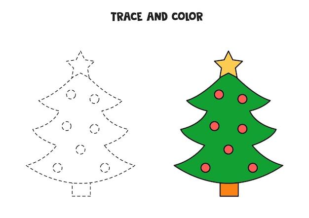 Traccia e colora l'albero di natale. foglio di lavoro per bambini.