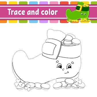 Traccia e colora pagina da colorare per bambini pratica della scrittura a mano giorno di san patrizio