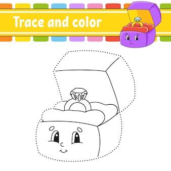 Traccia e colora. pagina da colorare per bambini.