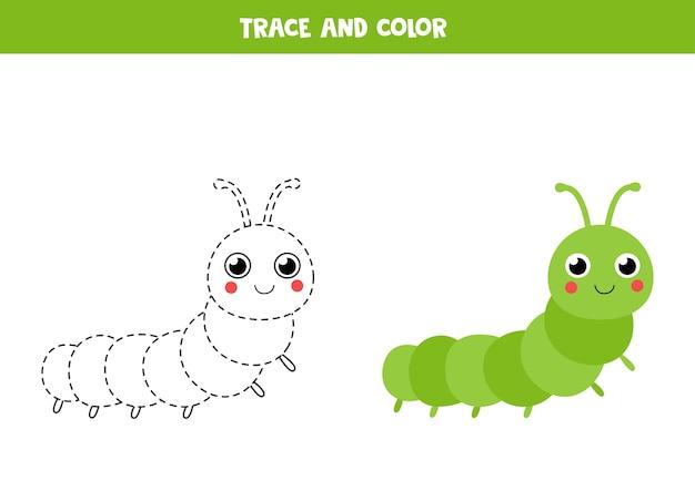 Traccia e colora un simpatico bruco. gioco educativo per bambini. pratica di scrittura a mano. Vettore Premium