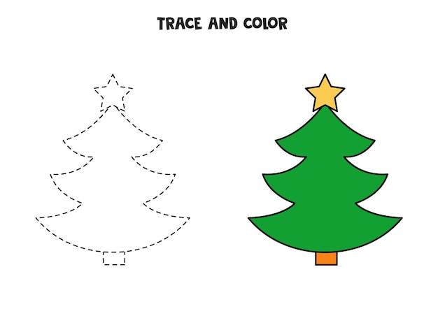 Traccia e colora un simpatico albero di natale. foglio di lavoro per bambini.