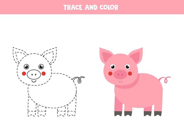 Traccia e colora un simpatico maiale da fattoria. gioco educativo per bambini. scrittura e pratica della colorazione.