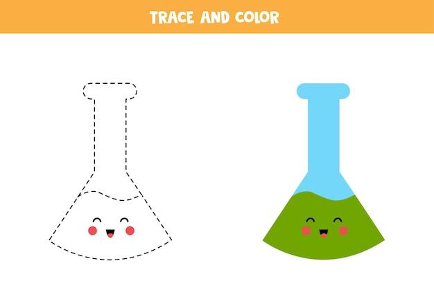 Traccia e colora una simpatica provetta kawaii. foglio di lavoro per bambini. Vettore Premium