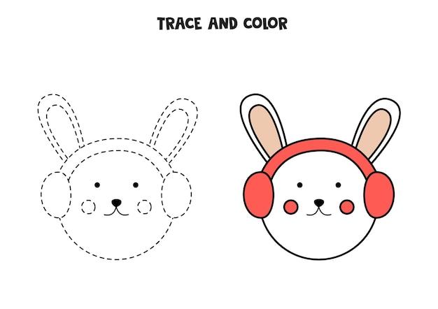 Traccia e colora un simpatico coniglio. foglio di lavoro per bambini.