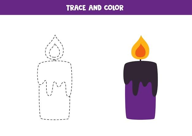 Traccia e colora la candela di halloween. foglio di lavoro per bambini.