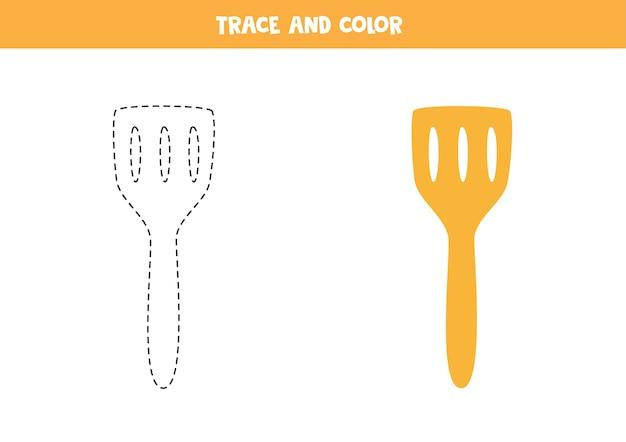 Traccia e colora la spatola da cucina. gioco educativo per bambini. scrittura e pratica della colorazione.