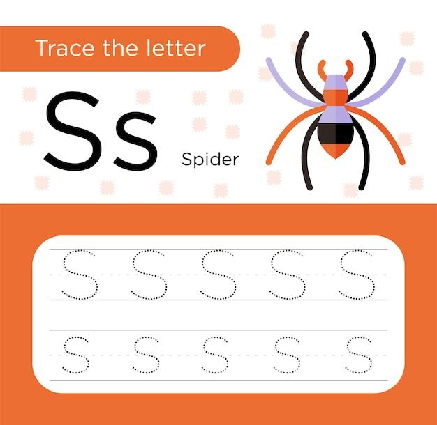 Traccia e colora, traccia il foglio di lavoro della lettera s per bambini in età prescolare