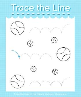 Traccia e colora: traccia il foglio di lavoro della linea per bambini in età prescolare - palline