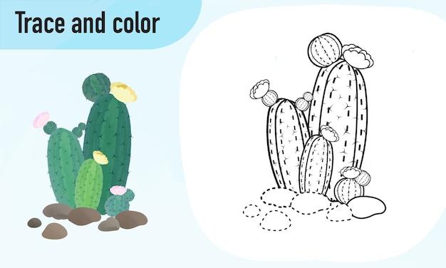 Traccia e colora il foglio di lavoro, praticando per bambini in età prescolare cactus
