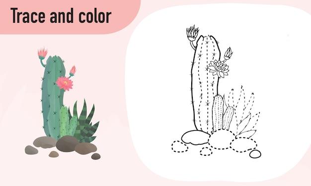 Traccia e colora il foglio di lavoro, praticando per bambini in età prescolare cactus Vettore Premium