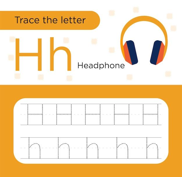 Traccia il foglio di lavoro prescolare della lettera h.