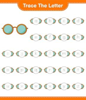 Traccia la lettera. lettera di tracciamento con occhiali da sole. gioco educativo per bambini, foglio di lavoro stampabile, illustrazione vettoriale