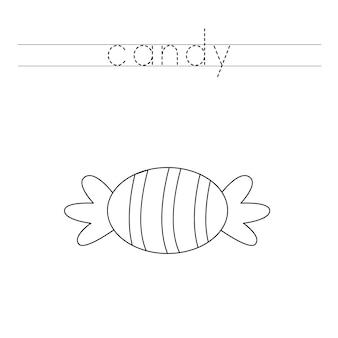 Traccia le lettere e colora le caramelle di halloween. pratica di scrittura a mano per bambini.
