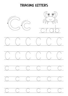 Traccia lettere dell'alfabeto inglese. do maiuscolo e minuscolo c. pratica di scrittura a mano per bambini in età prescolare.