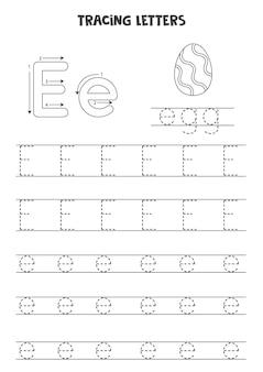 Traccia lettere dell'alfabeto inglese. e maiuscola e minuscola e. pratica di scrittura a mano per bambini in età prescolare.