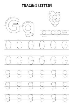 Traccia lettere dell'alfabeto inglese. g maiuscola e minuscola. pratica di scrittura a mano per bambini in età prescolare.