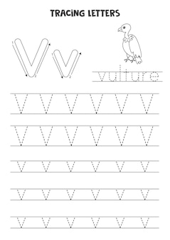 Traccia lettere dell'alfabeto inglese. v maiuscola e minuscola. pratica di scrittura a mano per bambini in età prescolare.