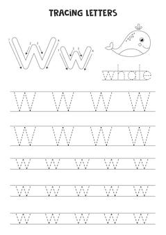 Traccia lettere dell'alfabeto inglese. maiuscole e minuscole w. pratica di scrittura a mano per bambini in età prescolare.