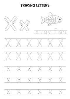 Traccia lettere dell'alfabeto inglese. x maiuscola e minuscola. pratica di scrittura a mano per bambini in età prescolare.