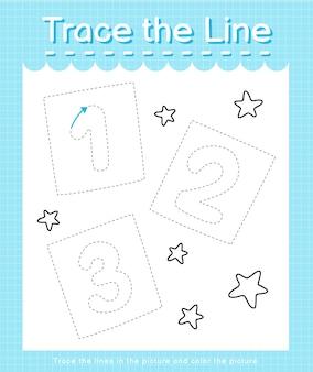 Traccia la traccia della linea seguendo le linee tratteggiate e colora i numeri delle immagini