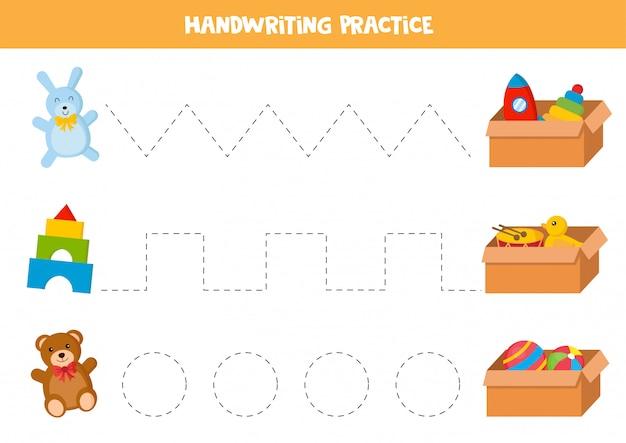 Traccia le linee tra giocattoli e scatole di giocattoli. gioco per bambini.