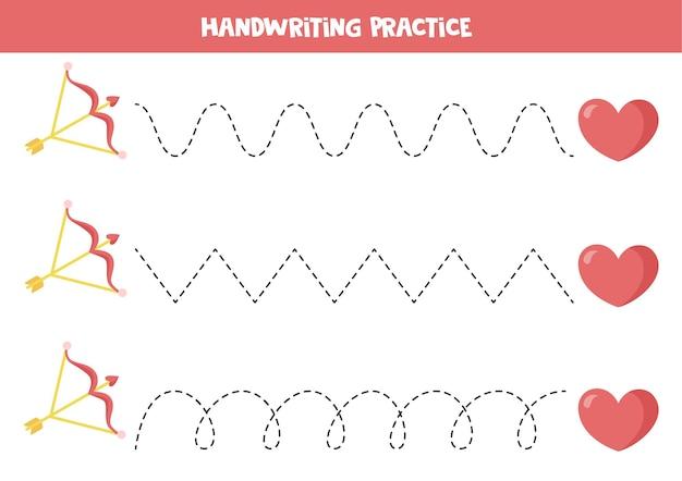 Traccia le linee con freccia e cuore gioco educativo per bambini