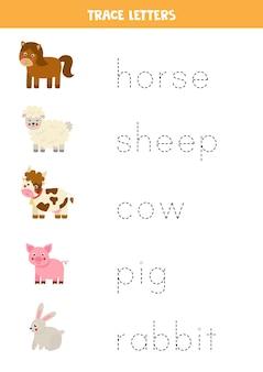 Traccia i nomi di simpatici animali da fattoria dei cartoni animati. pratica di scrittura a mano per bambini in età prescolare.