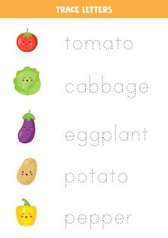Traccia i nomi delle verdure carine. pratica di scrittura a mano per bambini in età prescolare.