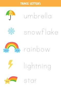 Traccia i nomi di elementi meteorologici carini. pratica di scrittura a mano per bambini in età prescolare.