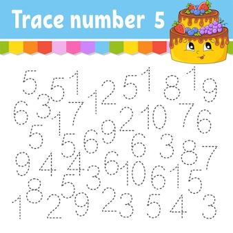 Numero di traccia. pratica di scrittura a mano. numeri di apprendimento per bambini.