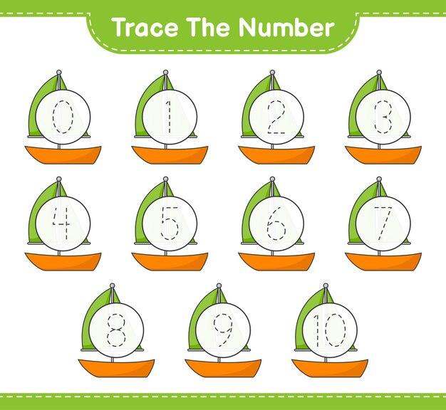Traccia il numero traccia il numero con il foglio di lavoro stampabile del gioco educativo della barca a vela