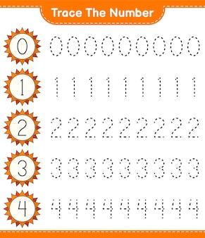 Traccia il numero traccia il numero con il foglio di lavoro stampabile del gioco sun educational