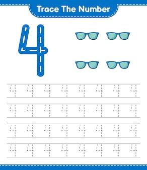 Traccia il numero traccia il numero con gli occhiali da sole foglio di lavoro stampabile del gioco educativo per bambini