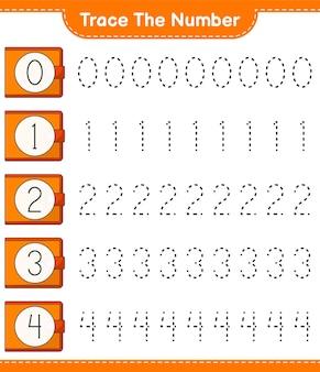 Traccia il numero tracciare il numero con il foglio di lavoro stampabile del gioco per bambini di wallet education