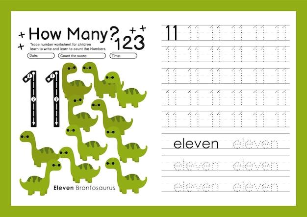Traccia i numeri scrivendo fogli di lavoro pratici e imparando i numeri per la scuola materna numero undici 11